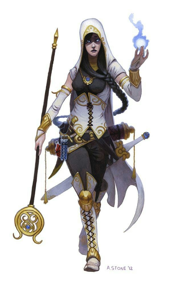 Female warrior wizard with sword and staff