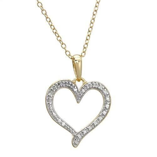 Heart Necklace With Diamond Vibrant heart necklace with genuine diamond made in 14K gold plated 925 silver. Total item weight 3.0g. Length 18 inch. Gemstone info: 1 diamond, 0.01ctw., with round shape and accent color. Clarity: ACCENT.