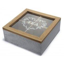 Scatola porta tè legno 4 scomparti coperchio vetro shabby chic