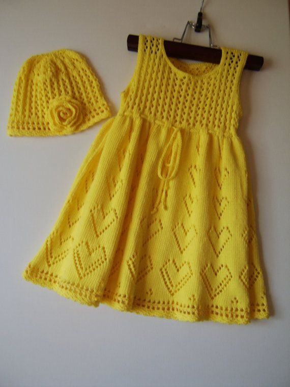 Knitted Baby Dress with Bolero Jacket and Hat -