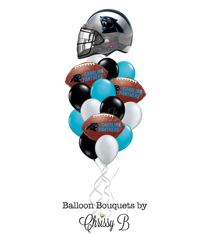 Carolina Panthers Balloon Bouquet with Giant Helmet Mylar Balloon and Football Balloons - NFL Football Party, Tailgate Party, Superbowl by ChrissyBPartyShop on Etsy https://www.etsy.com/listing/245556575/carolina-panthers-balloon-bouquet-with