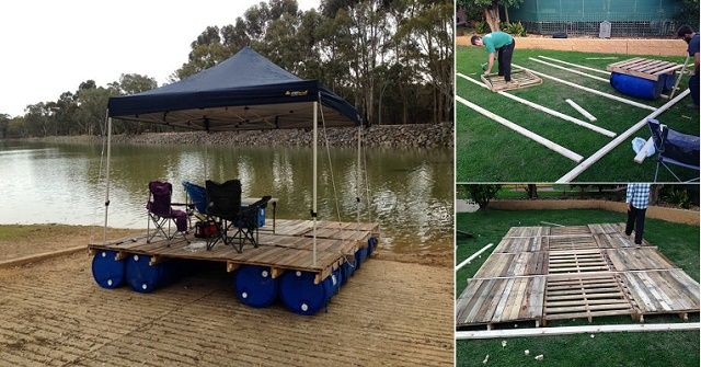 How To Build A Transportable Pontoon Raft Out Of Old Pallets And 55 Gallon Plastic Drums BRILLIANT