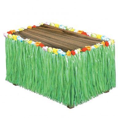 """Gonna da tavolo Hawaii verde: disponibile anche in colore giallo paglierino, questa gonna da tavolo in raffia sarà perfetta per """"vestire"""" il tuo buffet e ricreare la giusta atmosfera per una indimenticabile festa a tema hawaii."""