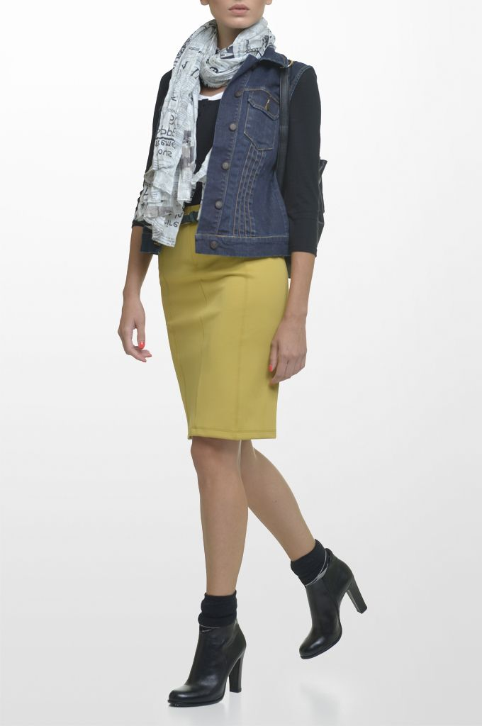 Sarah Lawrence - denim vest, 3/4 sleeve double layered jersey blouse, jersey pencil skirt, printed scarf, leather belt.