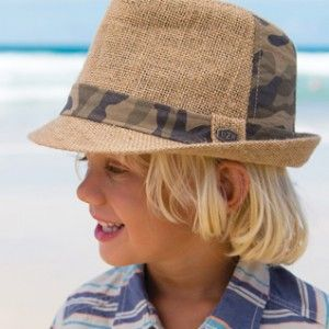 Boys Neo Fedora. This great new season's boys fedora is perfect to wear from beach to BBQ. It is natural jute with a cotton camo band around the crown and patch on the back. It is fully lined with an elasticised band for comfort.
