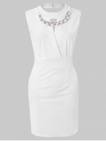 Sexy Plunging Neck Solid Color Bead Embellished Women's Party Dress – WHITE …