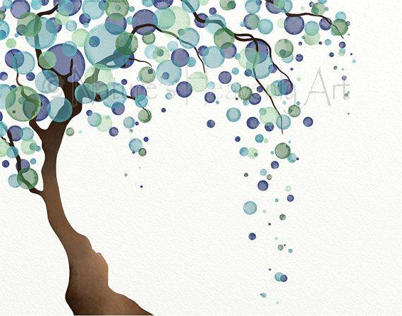 Aquarelle arbre sticker impression 11 x 14 Nature, arbre vert bleu, pois, Willow Tree Art, décoration de la maison (7)