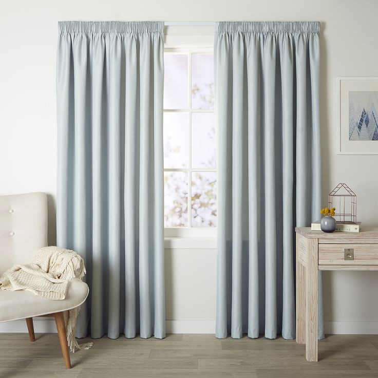 Cove Duck Egg - Readymade Thermal Pencil Pleat Curtain - Curtain Studio buy curtains online