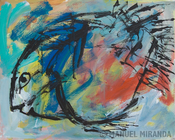 "'Curious Fish' Manuel Miranda / Acrylic on canvas / 16"" x 20"" / Date: 2011 / Art Brut"