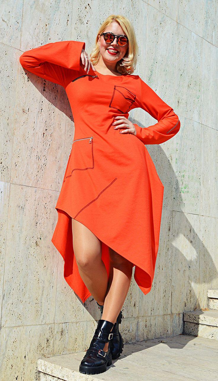 New in our shop! Orange Asymmetrical Dress , Long Sleeve Dress , Orange Jersey Dress, Zipper Dress, TDK278 by TEYXO https://www.etsy.com/listing/562778597/orange-asymmetrical-dress-long-sleeve?utm_campaign=crowdfire&utm_content=crowdfire&utm_medium=social&utm_source=pinterest