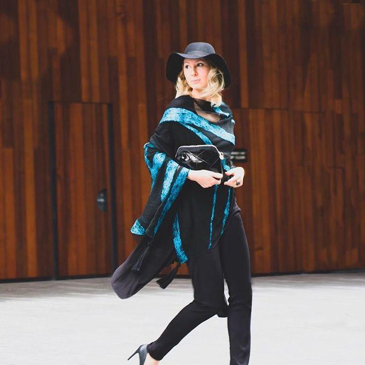#fashion #style #valeins #handmade #silk #silkscarf #scarf #nunofelt #felt #streetstyle #streetfashion #aucklandfashion #merino #merinowool #newzealandwool #newzealandfashion #turquoise #lightblue #fedorahat #black #blackonblack