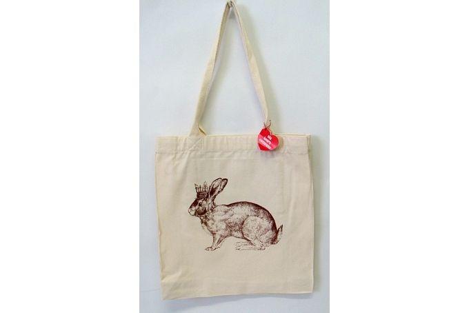 Crown Bunny Printed Tote Bag (brown) by Big Heart Company