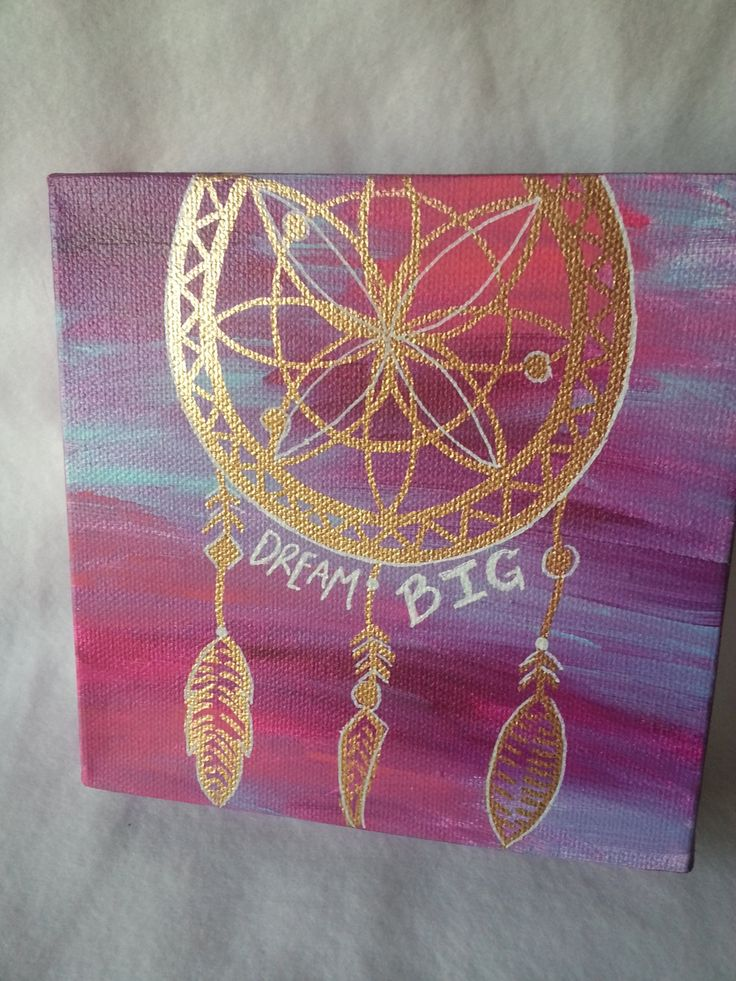 "6x6 inch Acrylic Painting with Metalic Gold Dream Catcher - White text ""Dream Big"" - Pink, Purple, and Turquoise background by jessicapribil on Etsy"