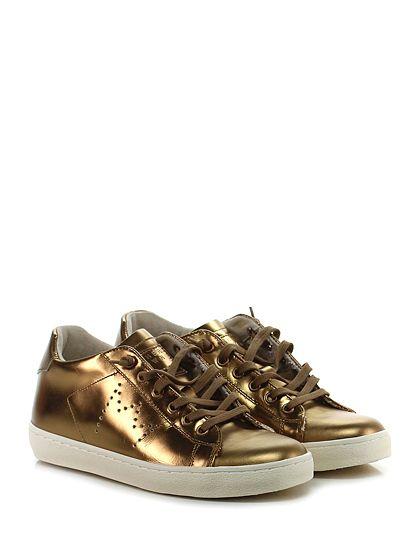 Leather Crown - Sneakers - Donna - Sneaker in pelle specchiata con suola in gomma. Tacco 30. - BRONZO - € 223.00