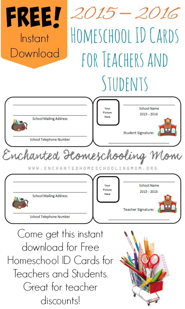 Come get this instant download for Free Homeschool ID Cards for Teachers and Students. Great for teacher discounts!