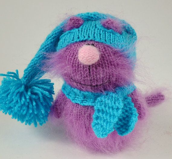 SALE lilac Cat in blue Hat  Hand-Knitted cat Toy от MiracleStore