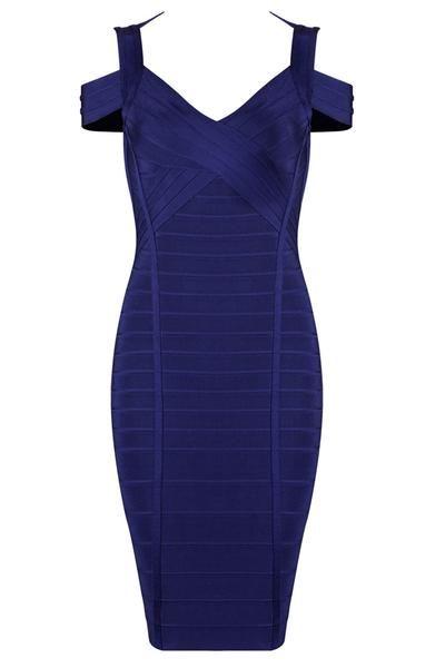 Honey Couture Blue Bandage Dress