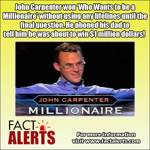 John Carpenter won a million dollars