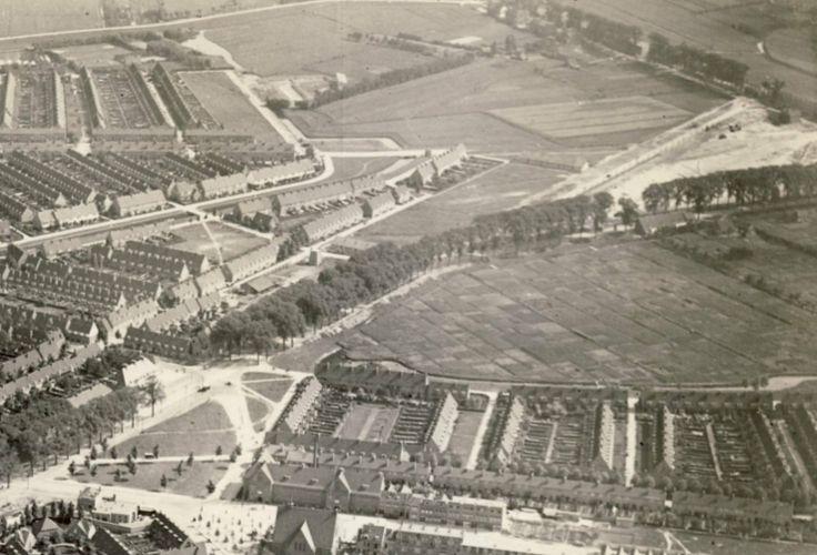 Groene Hilledijk met bomen. Rechtsboven de Dordtsestraatweg. Links Tuindorp Vreewijk. Foto van 1 januari 1926.