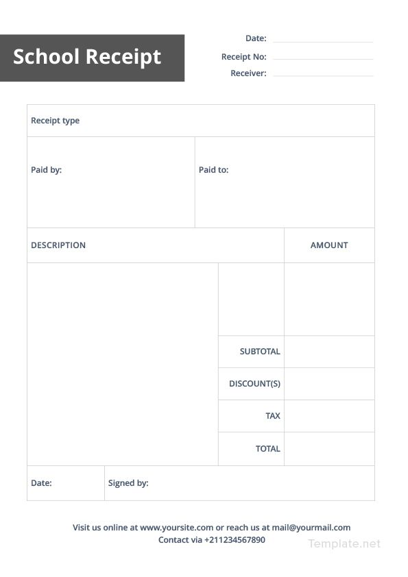 School Receipt Template Free Pdf Google Docs Google Sheets Excel Word Template Net Receipt Template Templates Receipt