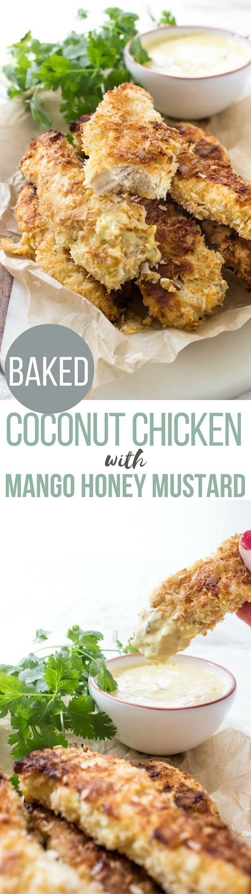 Paleo Coconut Chicken Tenders with Mango Honey Mustard! This easy paleo meal is ready in just 30 minutes!
