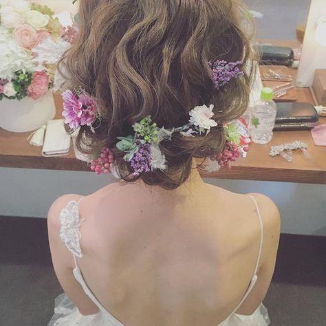 お色直しヘア☺️ #プレ花嫁  #ウェルカムボード  #ウェディングドレス  #ブライダルヘアメイク  #ブライダル