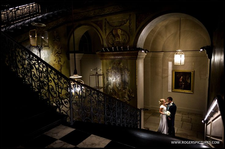 Natalie and Chris on the King's Grand Staircase at their Kensington Palace wedding -