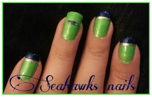 Seattle Seahawks nails..done by my aunt♥