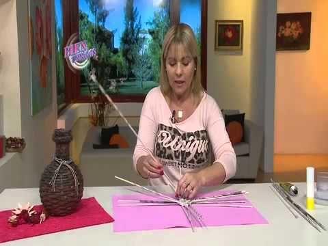 Jarrón rústico en cestería - YouTube