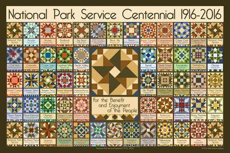 Olde America Antiques | Quilt Blocks | National Parks | Bozeman Montana : NATIONAL PARK SERVICE 1916-2016 - National Park Service Centennial Quilt Block 2