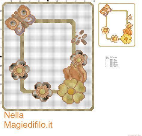 Schema punto croce Thun centrino fiori e farfalla