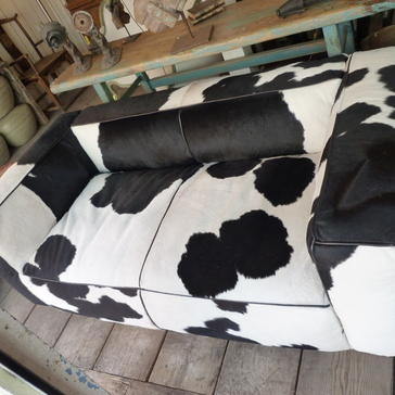 Black And White Cow Hide Couch $4,070 #furniture #sofa #cowhide | Something  Wild West | Cow Hide, White Cow, Cow