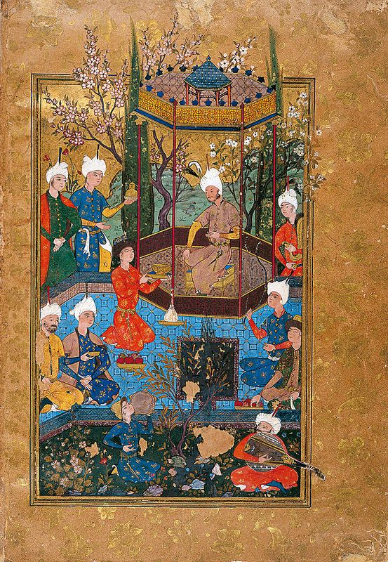 برگی از دیوان ابراهیم میرزا، نگارگر ناشناس، میلادی1582، مشهد Double Finispiece From The Diwan Of Sultan Ibrahim Mirza Geography Iran Period Safavid, 1582 CE Dynasty Safavid Materials and technique Opaque watercolour, gold and ink on paper Dimensions Page 23.8 x 16.6 cm
