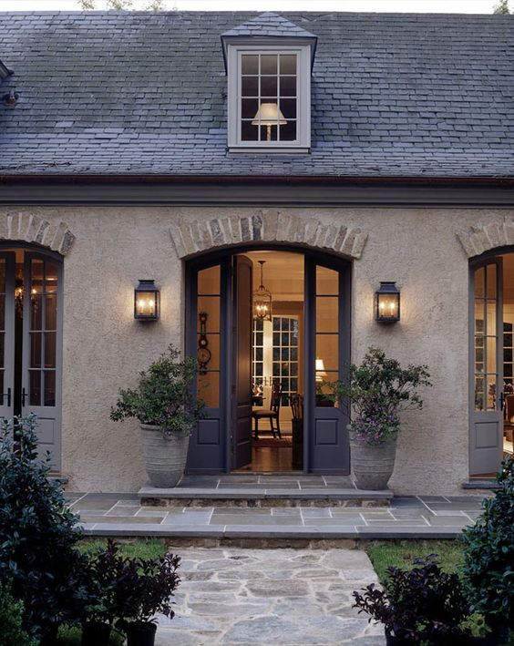 "I love this look...French country...old stone, brick trim above doors, color scheme...would love to make our house have a kind of ""old world, French country"" feel and look to it. Is that possible?:"
