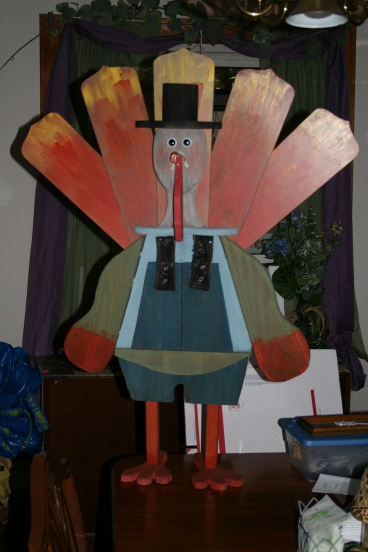Whimsical Turkey Fall Decoration Made From Ceiling Fan