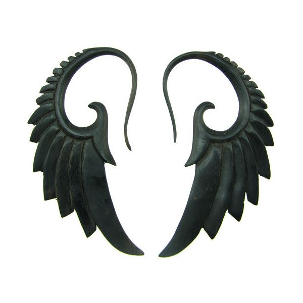 Ebony Wood Seraphim Wing Hanging Gauge Earrings ❤ liked on Polyvore featuring jewelry, earrings, wooden jewelry, angel wing earrings, wing jewelry, earring jewelry and angel wing jewelry
