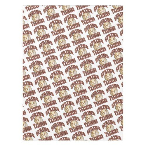 Baseball Spring Training Crossed Bats and Ball Tablecloth
