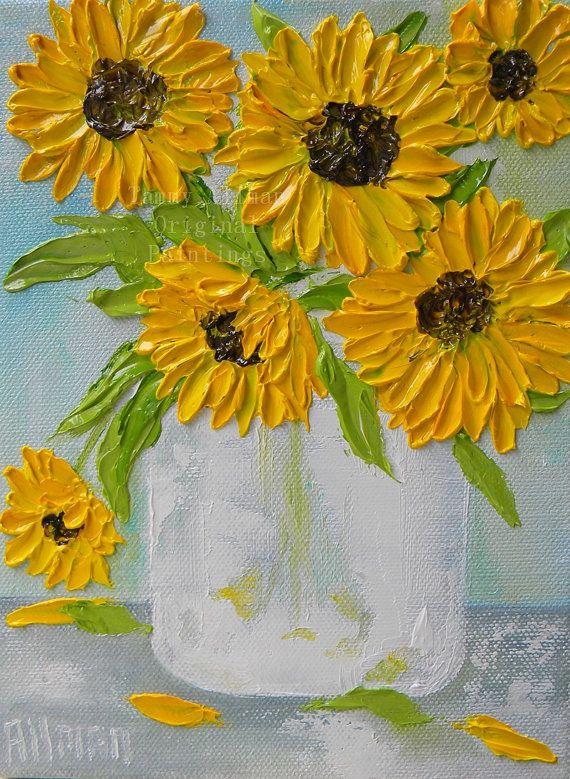 Fresh Sunflower Impasto Oil Painting, Sunflower Oil Painting, Impasto, Wedding, Mothers Day, For Her, Decor