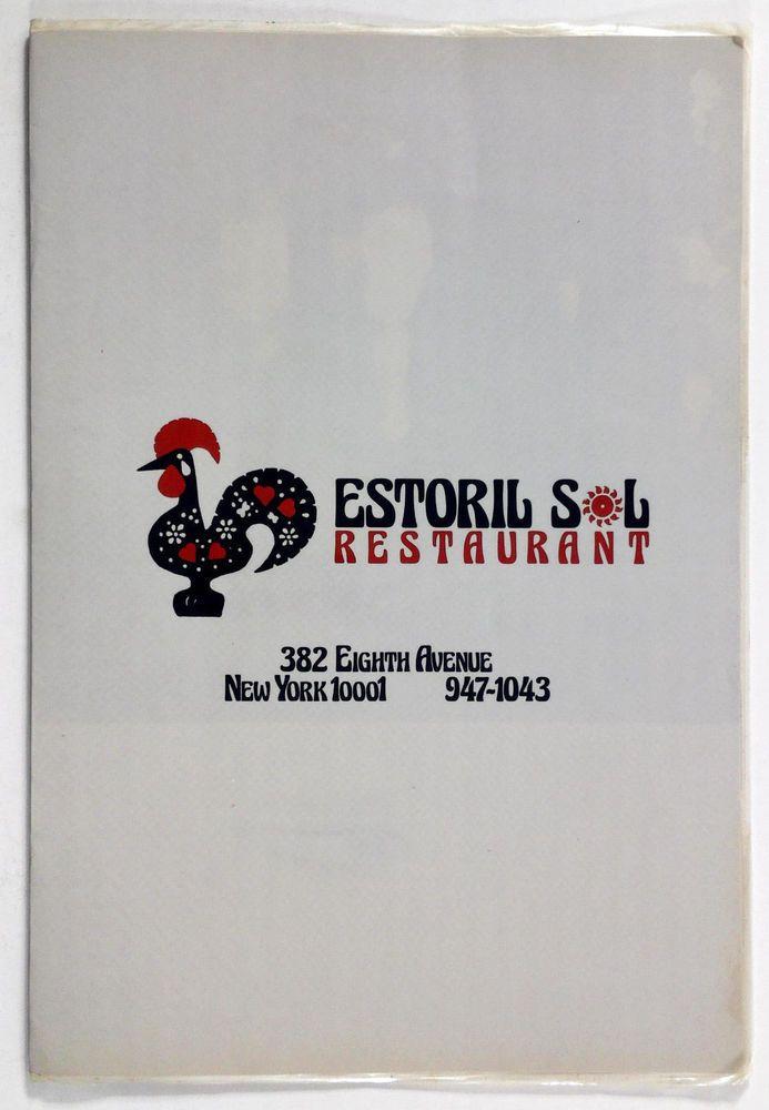1970's Vintage Menu ESTORIL SOL Portuguese Restaurant New York Portugal Cuisine