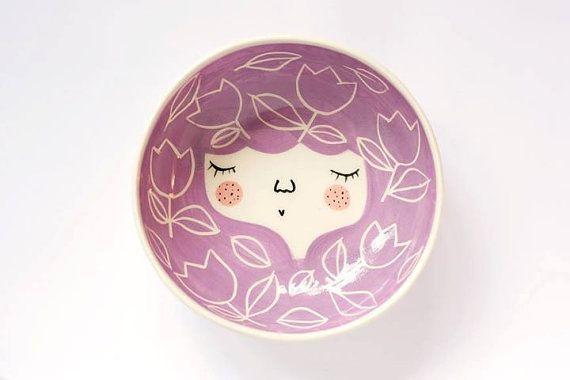 Ceramic face bowl   face illustrated bowl  por MarinskiHandmades, $35.00