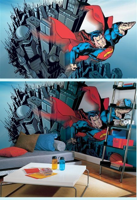 Superman Giant XL Wall Mural - 9 x 15 feet - Kids Wall Decor Store