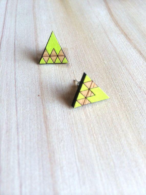 Hand Painted Laser Cut Wood Geometric Triangle Pattern Stud Earrings- Lime Green