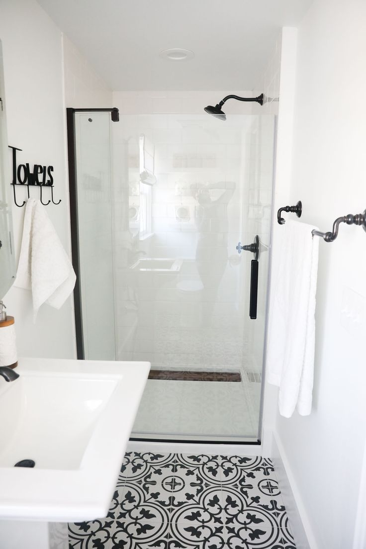 Black And White Bathroom Makeover On A 1888 Fixer Upper: White Subway Tile,  Oil
