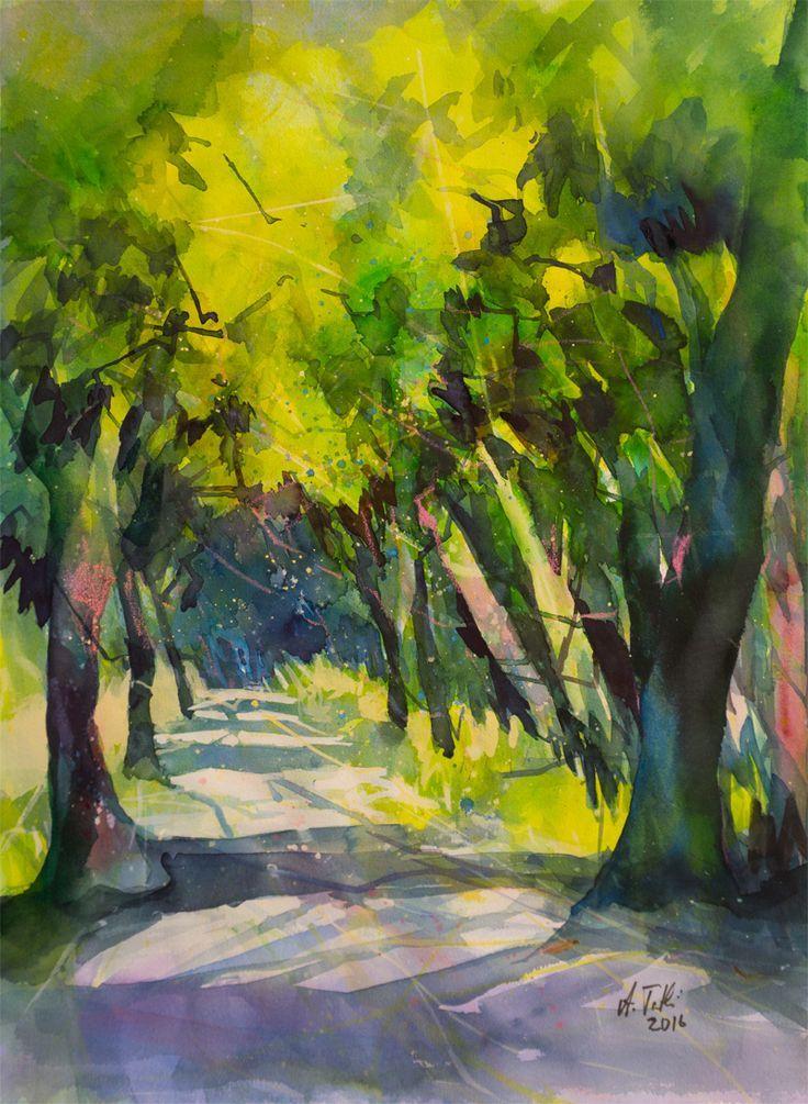 Aquarell Waldweg Mit Licht Und Schatten Von Angela Tatli