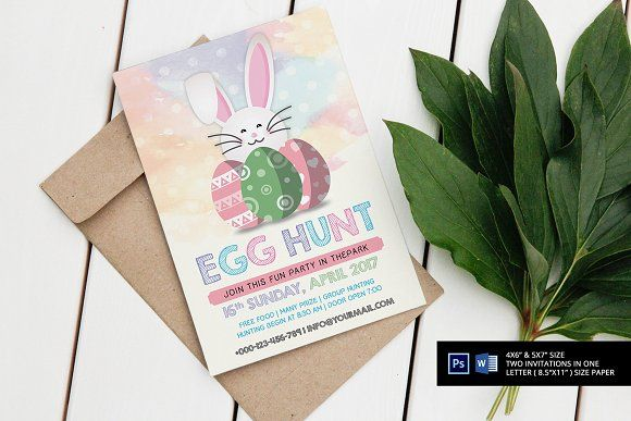 Watercolor Easter Invitation by SmmrDesign on @creativemarket