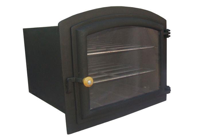 Forno para fogão a lenha de ferro fundido grande com tampa de vidro.  Comprimento:50 cm Largura: 46 cm Altura: 31 cm