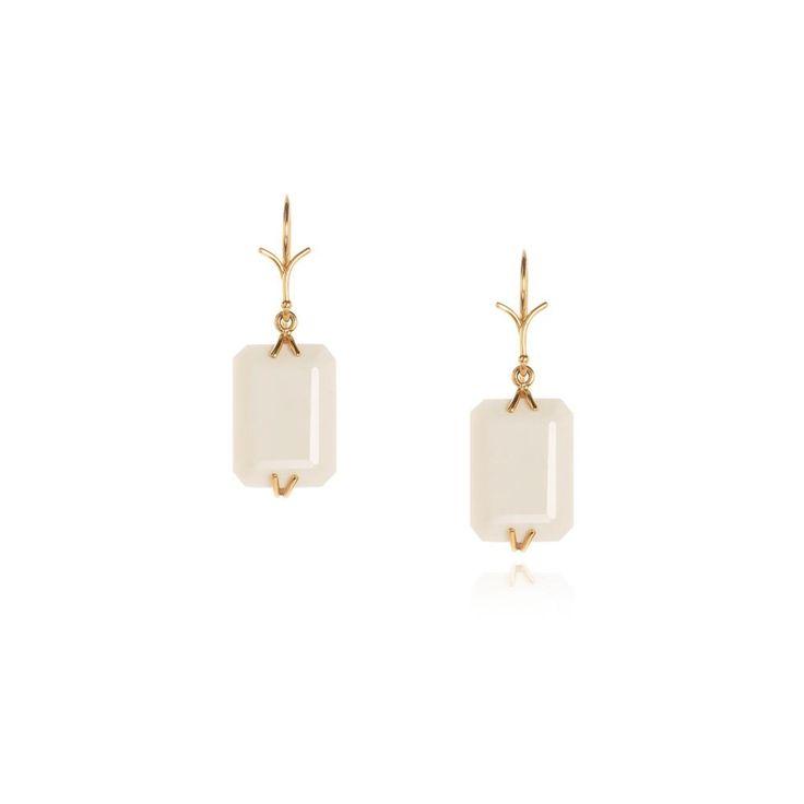White agate emerald cut earrings