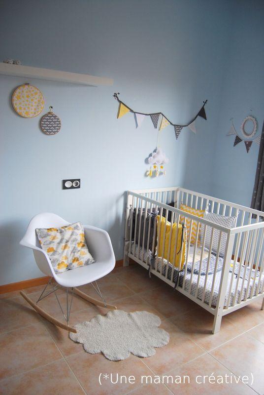 Une très jolie chambre unique pour un bébé surprise..... Je n'aurai pas choisi du jaune mais c'est tout de même magnifique... Bravo à la couturière !