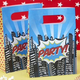 Every party needs a party bag, even the superheros! Our party bags come in a pack of 8 with the word PARTY printed on both sides.Printed on to thick paper they are great for special treats and the birthday   cake! Because they are made from paper you can also write a name on them!Pack of 8 - 160mm (w) x 220mm (h) x 50mm (d)