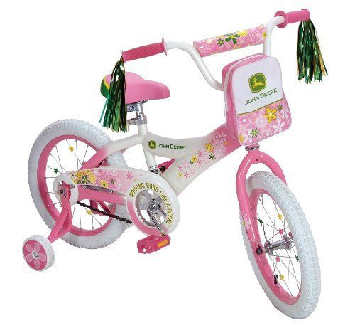 """John Deere 16"""" Girls Bike - Pink by Learning Curve. $118.99. 16-inch wheels, heavy-duty steel frame, quick release adjustable padded seat, adjustable training wheels, removable Carr all front pouch, and decorative spoke stars and handle bar tassels. Includes limited 90-day manufacturer's warranty. Officially licensed John Deere product. Measures 15 by 31 by 44 inches (W x H x D) with 22-pound weight; recommended for riders age four to eight. Spiffy, sturdy, John Dee..."""